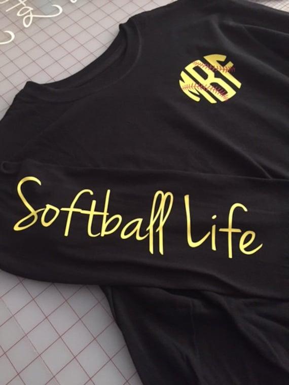 Softball Life Monogram Long Sleeve Shirt Softball Life Shirt