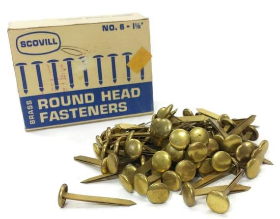 Scovill Brass Round Head Paper Fasteners No 6 Vintage Mad Men