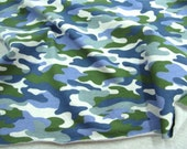 French Baby Terry Knit Fabric Camouflage By The Yard