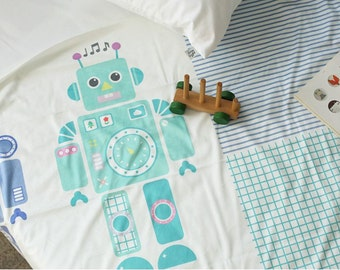 Microfiber Minky Fabric Robots By The Cut