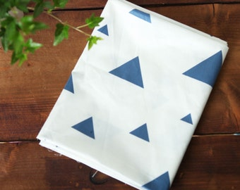 Twill Cotton Fabric Blue Triangles By The Yard