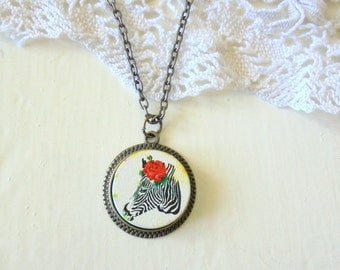 Zebra Necklace, Wild Life Necklace, Quirky Jewelry, Wooden Pendant, Red Rose