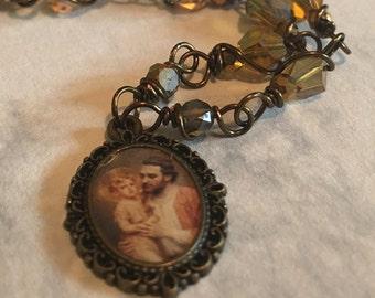 St. Joseph Graceful Vintaj Religious Pendant Wire-Wrapped, Handcrafted
