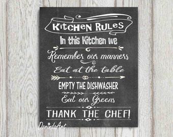 Kitchen Rules Sign Kitchen Printable Wall Art LARGE Kitchen Decor Black And  White Chalkboard Kitchen Print