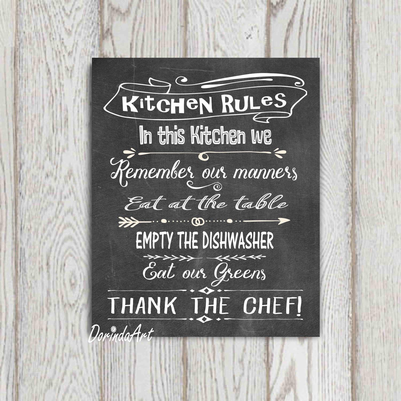 Kitchen Rules Sign: Kitchen Rules Sign Kitchen Printable Wall Art LARGE Kitchen