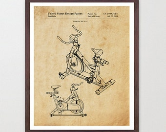 Spin Bike - Exercise Bike Patent - Soul Cycle - Exercise Poster - Spin Bike Patent - Exercise Bike - Workout - GYM Patent - Gym Art  Fitness