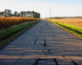 Road Repairs, #167.  Surreal Landscape Photography, Dreams, Farm Country, Rural, Rustic, Lonely, Isolated, Uninhabited, Mysterious,Miniature