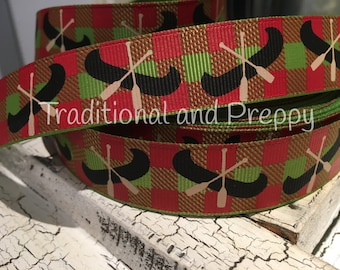 "7/8"" Buffalo Plaid red tan Canoe grosgrain ribbon"