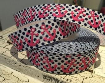 "3 Yards 7/8"" preppy polka dot nautical anchor grosgrain ribbon"
