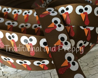 "7/8"" Thanksgiving Turkey Gobble Grosgrain ribbon"
