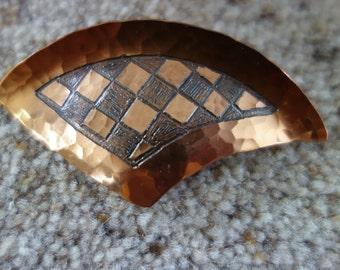 Moda handmade in Malta copper brooch with hammerd detail was 6.50 now 5.00