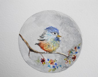watercolor my little blue bird