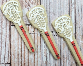 One dozen lacrosse stix decorated sugar cookies - includes writing