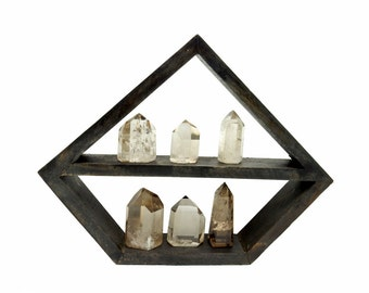Crystal Display Shelf - Dark Colored Wooden Jewelry Shelf (RK38TS)