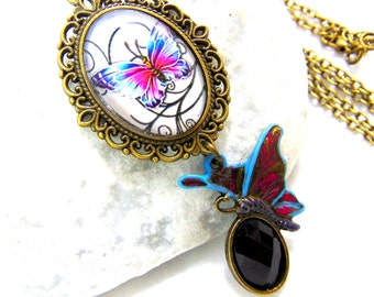 Butterfly Pendant Necklace ...... glass cabochon