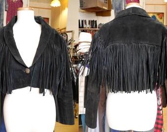 80s Fringe Leather Black Midriff Motorcycle Jacket