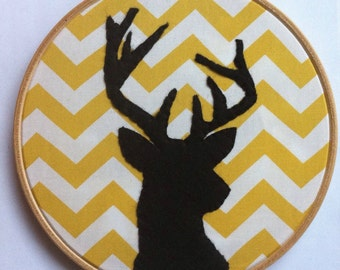 """7"""" inch black felt stag deer on yellow gold & white chevron fabric - new home - woodland nursery decor - MADE TO ORDER"""