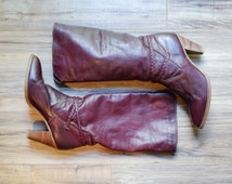 1970s Oxblood Leather Boots with Braided Details and Stacked Wooden Heel Size 10