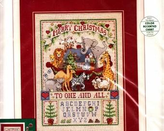 "Sunset ~ Noahs Ark Christmas - Counted Cross Stitch Kit ~ 11"" X 15"" Giraffe, Elephant, Zebras, Lion"