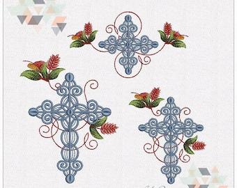 "Crosses Set with Petrykivka Flowers - Machine Embroidery Designs Set for hoops 4x4"" and 5x7"""