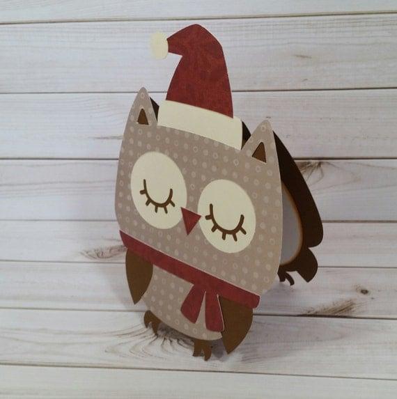 Owl Christmas Card Winter Owl Handmade Greeting by ACardDaysWork