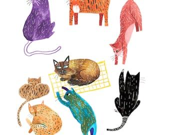 Coven of Cats art print - A4 210 × 297