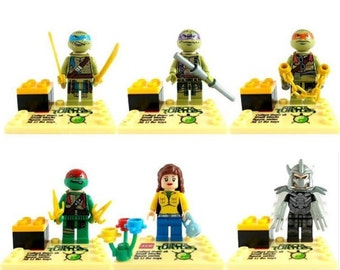 Lot of 6 figures Lego Ninja turtles customized