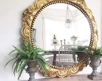Gold Ornate Mirror Round Large Bathroom