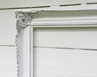 Large White Open Frame, White and Silver Frame, Mothers Day Gift, Baroque Ornate Painted, Photography Frame