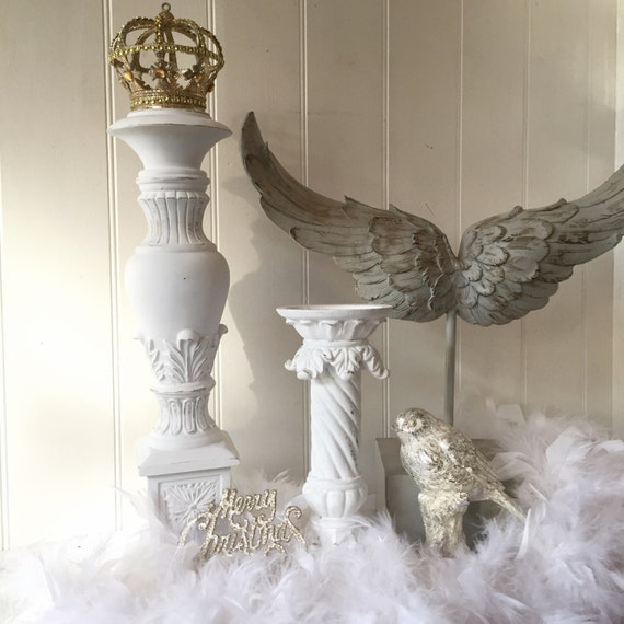 Shabby Chic Candle Holders White Distressed Candlestick