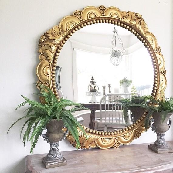 Gold ornate mirror round gold mirror large round mirror for Large round gold mirror