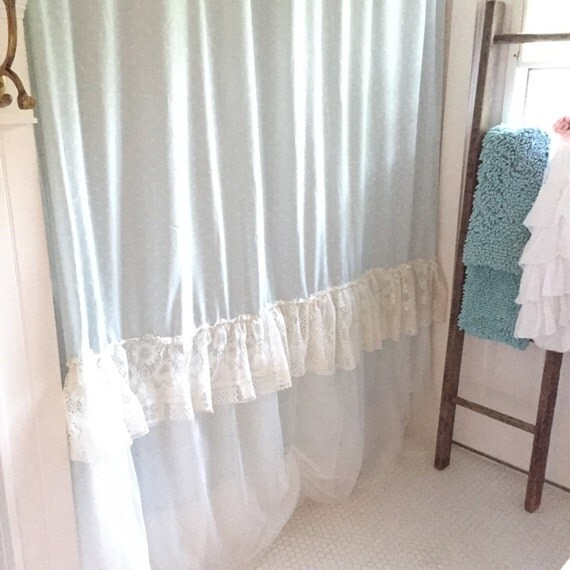 Shabby chic shower curtain lace ruffle bohemian bathroom for Shabby chic rhinestone shower hooks