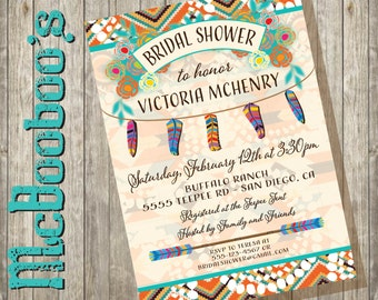 Tribal Aztec Boho Bridal Shower, Bachelorette or Baby shower with feather and arrows