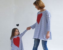 Women's Tunic Striped Oversize Tunic Long Sleeves Organic Cotton Tricot Blue & White Valentine's Heart Print Classic Stripes