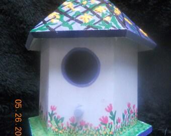 Bird House Decorative, Hand painted