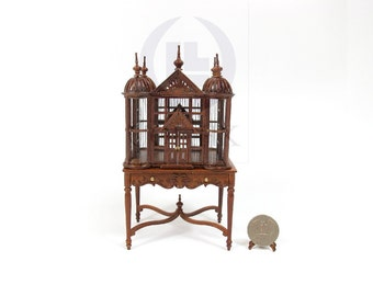 Miniature Doll House 1:12 Scale Tudor Birdcage/Birdhouse [Finished in walnut]