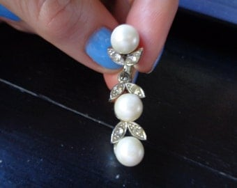 Vintage pearl and rhinestone drop earrings