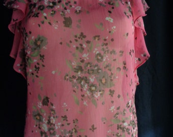 Vintage blouse pink chiffon with ruffles