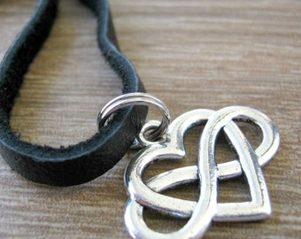 Polyamory Charm Necklace, ball chain or leather cord, polyamorist necklace, heart with infinity symbol, polyamorist, multiple partners
