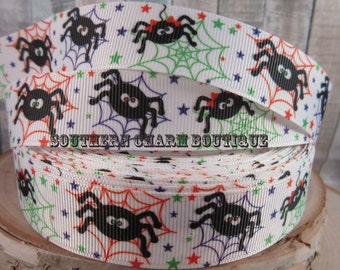 "3 yards of 7/8"" silly spider grosgrain halloween ribbon"