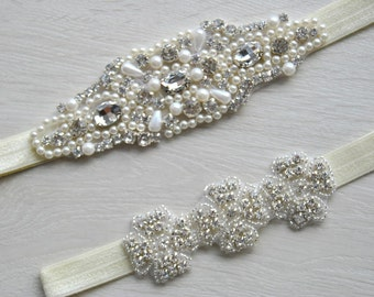 Rhinestone Bridal Garter Set, Wedding Garter Set Ivory White Flower Bridal Garter Set Vintage Wedding Crystal Rhinestone Toss Garter Set