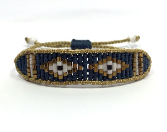 Gold and denim blue band bracelet