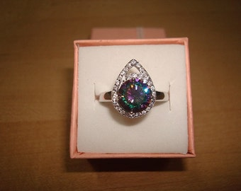 Diamond Cut White Sapphire And Mystic Topaz 925 Sterling Silver Ring Size 8.5