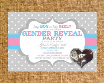 Customized Baby Gender Reveal Invite - Digital File