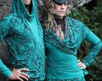 Women's Wrap Hoodie -  Small/ Medium , Teal, Warm Layer, Cowl Neck Hood, Women's Top, Comfortable, Totemical, Burning Man
