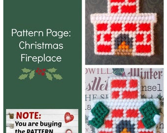 "Plastic Canvas Pattern Page: ""Christmas Fireplace"" (fireplace design, graph and photos, no written instructions) ***PATTERN ONLY!***"