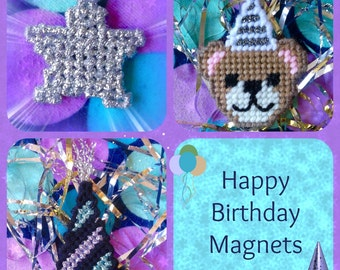Plastic Canvas: Happy Birthday Magnets (set of 3 --  star, party hat and birthday bear)