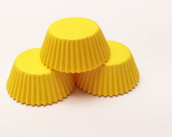48 Bright Yellow Mini Size Cupcake Liners Baking Cups Greaseproof