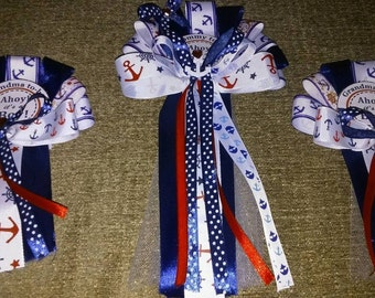 Nautical navy Baby shower corsage set Mommy & 2 smaller Grandma corsages