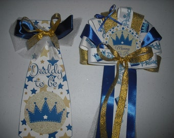 Baby shower Boy Prince Corsage and Tie Gold Blue and silver for the prince to be